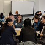 Associate Professor Maria Yang (far right) speaks with participants at the Rising Stars in Mechanical Engineering Workshop.