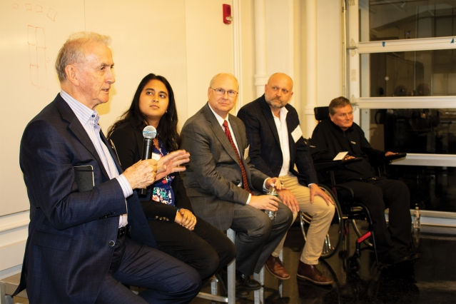 "Left to right: Neville Hogan, Jaya Narain, Robert Bond, Dan Frey, and Sam Schmidt spoke as part of ""Envisioning the Future of Technology-Enabled Mobility"" at MIT."