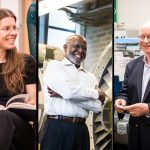 """Left to right: MIT faculty members Anna Frebel, Wesley Harris, and Harry Tuller are recognized as """"Committed to Caring."""""""